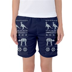 Holiday Party Attire Ugly Christmas Blue Background Women s Basketball Shorts