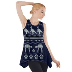 Holiday Party Attire Ugly Christmas Blue Background Side Drop Tank Tunic