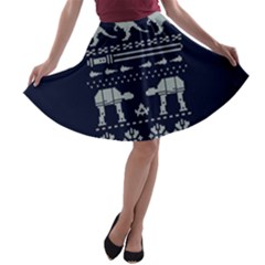 Holiday Party Attire Ugly Christmas Blue Background A-line Skater Skirt