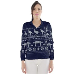 Holiday Party Attire Ugly Christmas Blue Background Wind Breaker (Women)