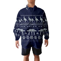 Holiday Party Attire Ugly Christmas Blue Background Wind Breaker (Kids)