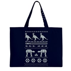 Holiday Party Attire Ugly Christmas Blue Background Large Tote Bag