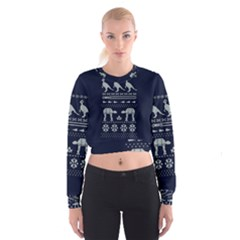 Holiday Party Attire Ugly Christmas Blue Background Women s Cropped Sweatshirt