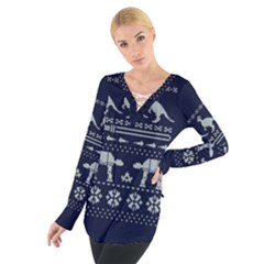 Holiday Party Attire Ugly Christmas Blue Background Women s Tie Up Tee