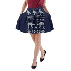 Holiday Party Attire Ugly Christmas Blue Background A-Line Pocket Skirt
