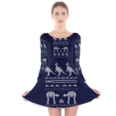 Holiday Party Attire Ugly Christmas Blue Background Long Sleeve Velvet Skater Dress