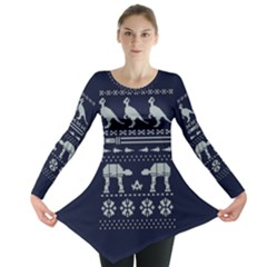 Holiday Party Attire Ugly Christmas Blue Background Long Sleeve Tunic
