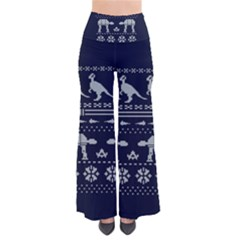 Holiday Party Attire Ugly Christmas Blue Background Pants