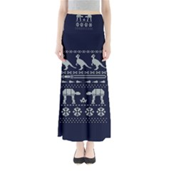 Holiday Party Attire Ugly Christmas Blue Background Maxi Skirts