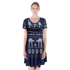 Holiday Party Attire Ugly Christmas Blue Background Short Sleeve V-neck Flare Dress