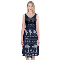 Holiday Party Attire Ugly Christmas Blue Background Midi Sleeveless Dress