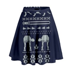 Holiday Party Attire Ugly Christmas Blue Background High Waist Skirt