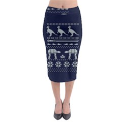 Holiday Party Attire Ugly Christmas Blue Background Midi Pencil Skirt