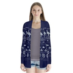 Holiday Party Attire Ugly Christmas Blue Background Drape Collar Cardigan