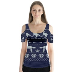 Holiday Party Attire Ugly Christmas Blue Background Butterfly Sleeve Cutout Tee