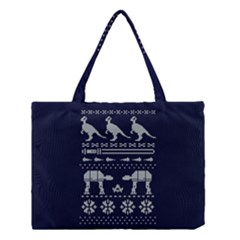 Holiday Party Attire Ugly Christmas Blue Background Medium Tote Bag