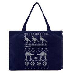 Holiday Party Attire Ugly Christmas Blue Background Medium Zipper Tote Bag