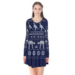 Holiday Party Attire Ugly Christmas Blue Background Flare Dress
