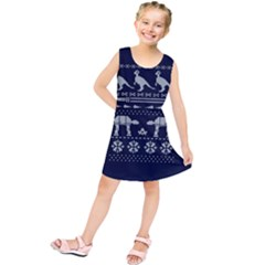 Holiday Party Attire Ugly Christmas Blue Background Kids  Tunic Dress