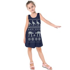Holiday Party Attire Ugly Christmas Blue Background Kids  Sleeveless Dress