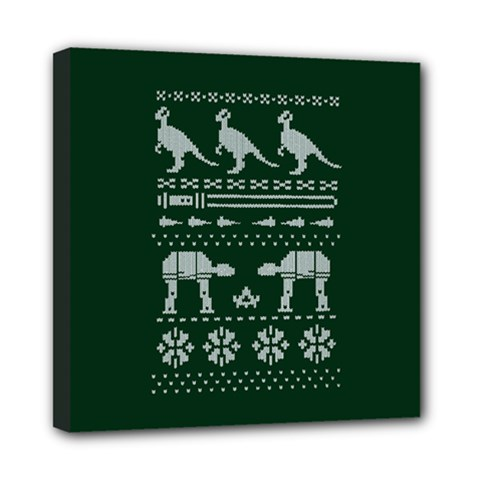 Holiday Party Attire Ugly Christmas Green Background Mini Canvas 8  x 8