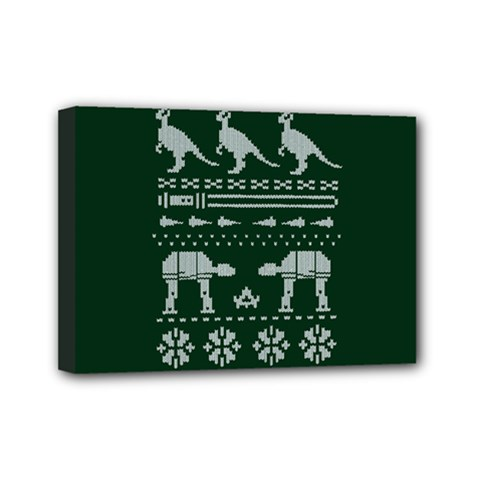 Holiday Party Attire Ugly Christmas Green Background Mini Canvas 7  x 5