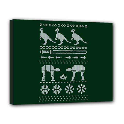 Holiday Party Attire Ugly Christmas Green Background Canvas 14  x 11