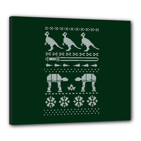 Holiday Party Attire Ugly Christmas Green Background Canvas 24  x 20