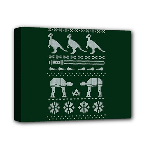 Holiday Party Attire Ugly Christmas Green Background Deluxe Canvas 14  x 11