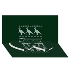 Holiday Party Attire Ugly Christmas Green Background Twin Heart Bottom 3d Greeting Card (8x4)
