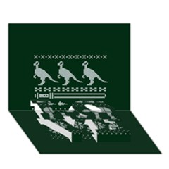 Holiday Party Attire Ugly Christmas Green Background LOVE Bottom 3D Greeting Card (7x5)