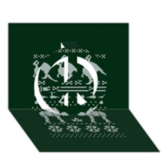 Holiday Party Attire Ugly Christmas Green Background Peace Sign 3D Greeting Card (7x5)