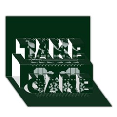 Holiday Party Attire Ugly Christmas Green Background TAKE CARE 3D Greeting Card (7x5)