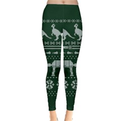 Holiday Party Attire Ugly Christmas Green Background Leggings