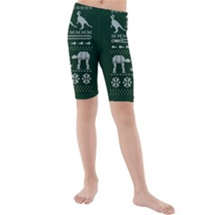 Holiday Party Attire Ugly Christmas Green Background Kids  Mid Length Swim Shorts