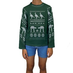 Holiday Party Attire Ugly Christmas Green Background Kids  Long Sleeve Swimwear