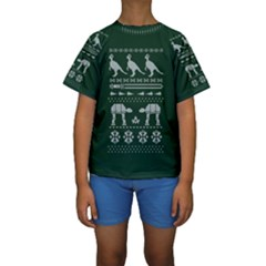 Holiday Party Attire Ugly Christmas Green Background Kids  Short Sleeve Swimwear
