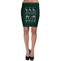 Holiday Party Attire Ugly Christmas Green Background Bodycon Skirt