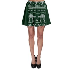 Holiday Party Attire Ugly Christmas Green Background Skater Skirt