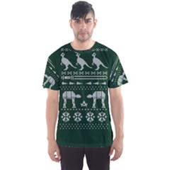 Holiday Party Attire Ugly Christmas Green Background Men s Sport Mesh Tee