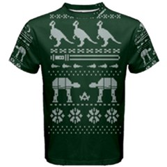 Holiday Party Attire Ugly Christmas Green Background Men s Cotton Tee