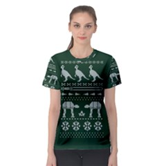 Holiday Party Attire Ugly Christmas Green Background Women s Sport Mesh Tee