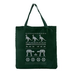 Holiday Party Attire Ugly Christmas Green Background Grocery Tote Bag