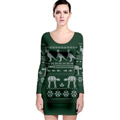 Holiday Party Attire Ugly Christmas Green Background Long Sleeve Bodycon Dress