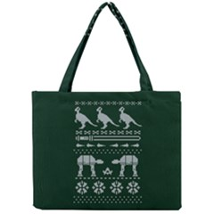 Holiday Party Attire Ugly Christmas Green Background Mini Tote Bag