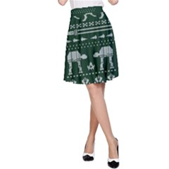Holiday Party Attire Ugly Christmas Green Background A-Line Skirt