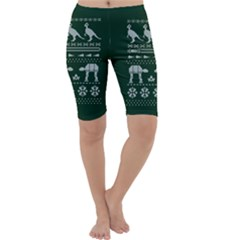 Holiday Party Attire Ugly Christmas Green Background Cropped Leggings