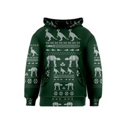 Holiday Party Attire Ugly Christmas Green Background Kids  Pullover Hoodie