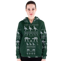 Holiday Party Attire Ugly Christmas Green Background Women s Zipper Hoodie