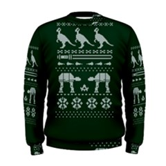 Holiday Party Attire Ugly Christmas Green Background Men s Sweatshirt